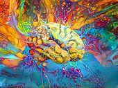Psychedelic Brain in Vivid Colors. 3D rendering poster