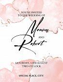Romantic Tender Brush Stroke Watercolor Background With  Glitter Foil Golden Design For Wedding Invi poster