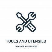 Tools And Utensils Icon Isolated On White Background From Database And Servers Collection. Tools And poster