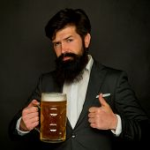 Happy Brewer. Bearded Man With A Glass Of Beer. Beer In The Uk. Happy Smiling Man With Beer. Happy B poster