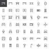 Home Interior Furniture Line Icons Set. Linear Style Symbols Collection, Outline Signs Pack. Vector  poster