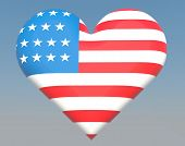 stock photo of dimentional  - US flag in heart shape to created from three dimention program - JPG