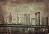 Постер, плакат: Винтажные гранж образ города Нью Йорка