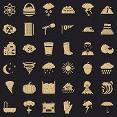 Meteorology Icons Set. Simple Style Of 36 Meteorology Vector Icons For Web For Any Design poster