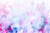 Abstract Watercolor Background For Your Design. Beautiful Combination Of Pink And Blue Colors. Grung poster