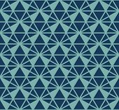 Vector Triangles Pattern. Abstract Geometric Seamless Texture In Navy Blue And Turquoise Color. Simp poster