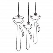 Elegant Neckties Hanging Icon Vector Illustration Design poster