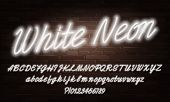 White Neon Script Alphabet Font. Neon Color Lowercase And Uppercase Bright Letters And Numbers. Stoc poster