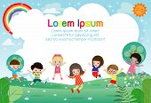 Happy Children Jumping And Dancing On The Park, Kids Activities,  Children Playing In Playground, Te poster