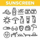 Sunscreen, Uv Defence Vector Thin Line Icons Set. Sunscreen, Suntan Rules Linear Illustrations. Summ poster