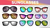 Sunglasses Various Styles And Types 3d Vector Set. Stylish Sunglasses With Color Lens Isolated Clipa poster