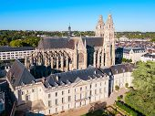 Tours Cathedral Aerial Panoramic View, A Roman Catholic Church Located In Tours City In The Loire Va poster