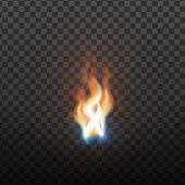 Realistic Burning Brush Fire Flame Element . Hot Red Blaze Spurt Or Translucent Fire Torch Flame Wit poster