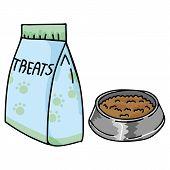 Cute Pet Food Bag And Bowl Cartoon Vector Illustration Motif Set. Hand Drawn Isolated Pet Elements C poster