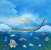 Fantasy Boat In An Enchanted Seascape - 3d Illustration poster