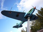 Monument To A Military Aircraft. A Beautiful Monument To The Aircraft Made In The Ussr And Installed poster