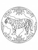 Tiger Pattern. Illustration Of Tiger. Mandala With An Animal.  Predator In A Circular Frame. Colorin poster