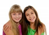 pic of playmates  - Two Happy Playmates Smiling and Hugging isolated on white background - JPG