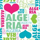 picture of algiers  - I love Algeria seamless typography background pattern in vector - JPG