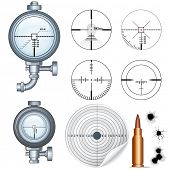 Crosshairs Set. Illustrations of Sniper Target Scopes, Optic Sight, Cross hairs, Target and Bullet H
