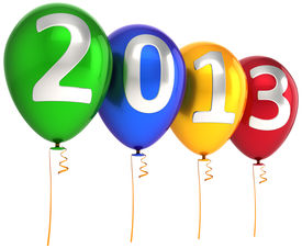 picture of happy new year 2013  - New 2013 Year party balloons decoration banner multicolor - JPG