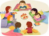 image of stickman  - Stickman Illustration Featuring Kids Chatting While Eating at a Sleepover - JPG