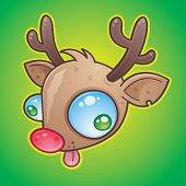 picture of wacky  - Wacky The Red Nosed Reindeer face with bulging eyes sticking out his tongue - JPG