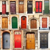 stock photo of front-entry  - A collage of 15 different European front entrance doors from the town of Bruges in Belgium - JPG