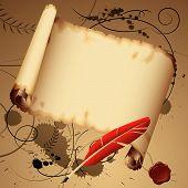 Постер, плакат: Старый пергамент с красным пером