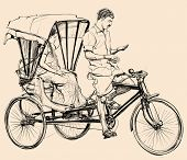 foto of rickshaw  - Vector illustration of an indian rickshaw - JPG