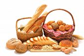 stock photo of bread rolls  - Bread and Rolls isolated on white background - JPG