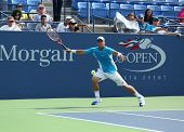 Two times Grand Slam champion Lleyton Hewitt practices for US Open 2013 at Arthur  Ashe Stadium at B