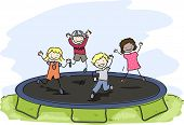 foto of playmates  - Doodle Illustration of Kids Playing with a Trampoline - JPG