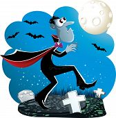 image of creeping  - Vector illustration of Dracula creeping in the cemetery at night - JPG