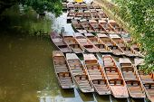 stock photo of isis  - Punts on the river Cherwel - JPG