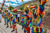 PISAC, PERU - JULY 16, 2013: dancers at Virgen del Carmen parade in the peruvian Andes