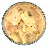 pic of glass noodles  - Home Made chicken Dumpling Soup in Glass Bowl over white - JPG