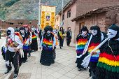 PISAC, PERU - JULY 16, 2013: dancers at the Virgen del Carmen parade in the peruvian Andes