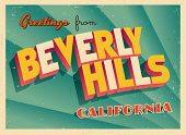 Vintage Touristic Greeting Card - Beverly Hills, California - Vector EPS10. Grunge effects can be ea