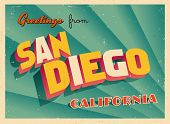 Vintage Touristic Greeting Card - San Diego, California - Vector EPS10. Grunge effects can be easily