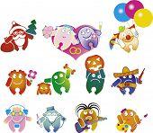 stock photo of clown rose  - set of fun cartoon people in various situations - JPG