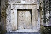 stock photo of burial-vault  - a massive stone door at Beit Shearim an ancient jewish necropolis in Israel - JPG