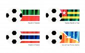 image of tierra  - An Illustration of Soccer Balls or Footballs with Flags of Tatarstan Togolese Republic or Togo Thailand and Tierra del Fuego Province Argentina - JPG