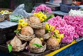 Flower And Coconuts In India
