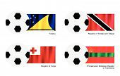 Soccer Ball Tokelau, Trinidad And Tobago, Tonga And Transnistria Flag