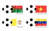 Soccer Ball With Vanuatu, Vietnam, Vatican And Venezuela Flag