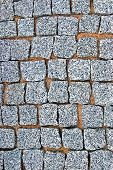 Granite Cobblestone Pavement Texture Background, Large Detailed Vertical Stone Block Paving, Rough