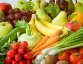 stock photo of healthy food  - Assortment of fresh vegetables and fruit  - JPG