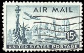 USA-CIRCA 1947: A 15 cent United States Airmail postage stamp, shows image a Lockheed Constellation