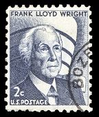 USA-CIRCA 1966: A postage stamp shows image portrait of Frank Lloyd Wright A famous American Archite